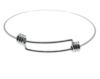 Expandable Stainless Steel Wire Bangle Bracelet | Silver Wire Bangle | Stacking Charm Bracelet -- 14831
