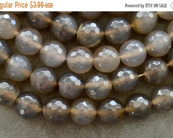 20% off SALE 14mm Gray Agate Stone Beads, Gemstone, Faceted Agate, 5 Beads, Gray Stone Beads Large Gray Stone Beads