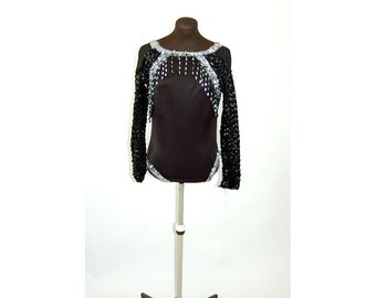 1980s dance costume leotard black silver sequin beaded stretchy high leg Size M