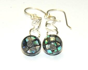 Abalone dangle earrings - Shell Jewelry - Mosaic  - Paua Abalone - Ball Earrings - Chain Earrings - Beach Jewelry