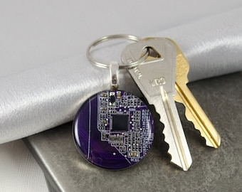 Circuit Board Keychain, Violet PCB Key Fob, Engineer Gift, Graduation Gift, Software Engineer, Computer Science Gift, Science Gift, Geekery
