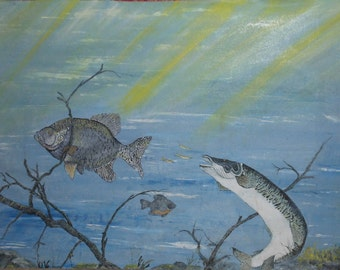vintage oil painting on canvas of fish under water signed
