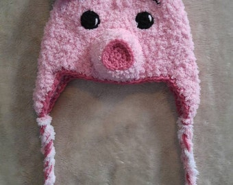 Crochet baby/child pig hat