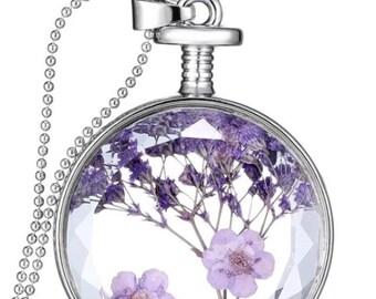 Dry Flowers Glass Pendant