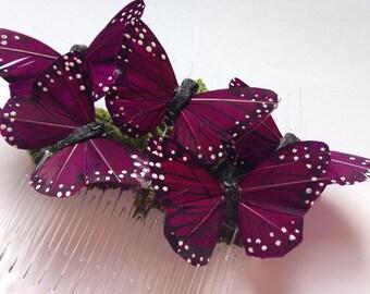 Monarch glen feather butterfly hair comb hairpiece bridal weddings boho purple