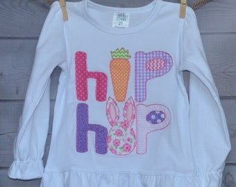 Personalized Easter Bunny Hip Hop Bunny Carrot Applique Shirt or Bodysuit Girl or Boy Add Skirt, Shorts, Pants, or Capris