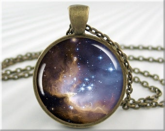 Nebula Space Pendant, Resin Charm, Hubble Telescope Photo Necklace, Round Bronze, Gift Under 20, Space Gift, Nebula Charm 644RB