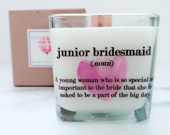 Junior Bridesmaid Soy Candle~Personalized Bridesmaid Candles~Bridesmaid Proposal Boxes~Bridesmaid Candle~Wedding Candles~Bridal Shower Favor