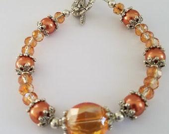 Apricot Blush Bracelet, Apricot Bracelet, Peach Bracelet