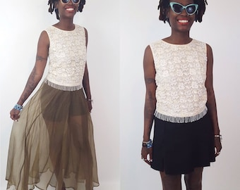 Ivory White 50s Beaded Fringe Sparkle Tank - Vintage Women's Small Flapper Tank Beaded Lace Pattern - 50's The Great Gatsby Party Style
