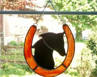 Stained Glass Horseshoe and Horse Silhouette Suncatcher, Western Decor, Horse Lover Gift, Rustic Decor, Horseshoe Art, Good Luck Charm
