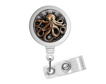 Steampunk Octopus Photo Glass / Bottle Cap Retractable ID Badge Reel