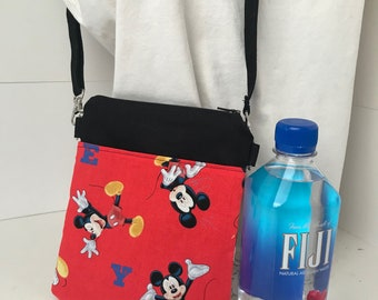 Crossbody Cellphone Bag - Mickey Mouse Red- Coins/Cards/Earbuds- Adjustable Strap
