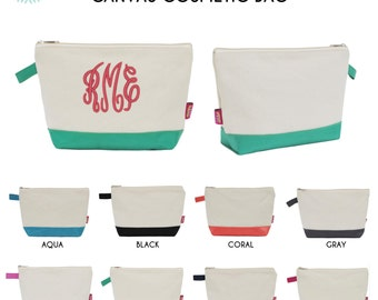 Cosmetic Pouch with Monogram/ Toiletry bag/ Pencil case/ Makeup bag