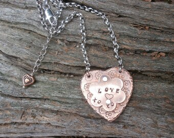 COPPER HEART and Flower Necklace, Hand Stamped Jewelry, Riveted Jewelry