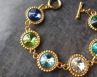 Birthstone Jewelry, Custom Mother's Bracelet, Gold Crystal Mother's Jewelry, Grandmother's Birthstone Bracelet, Family Jewelry