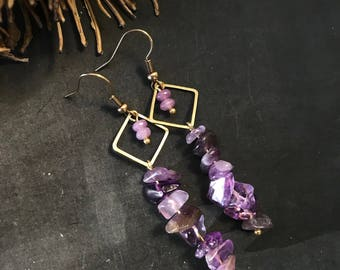 "Earrings ""Purple Love. Earrings with Edelsteentjes agate and purple calcite."