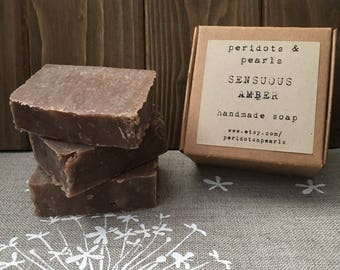 Sensuous Amber Cold Processed Handmade Soap - sample size, party favour, guest size