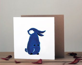 Cute little bunny card | Blank greetings card | Water colour blue