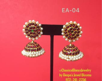 Traditional Kemp temple jewelry Earrings for Bharatnatyam, Kuchipudi, Parties, Engagement, Weddings, Birthdays etc.