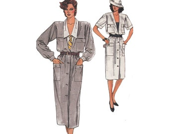 Easy to Sew Loose Fitting Dress 1980s Vogue Sewing Pattern 9207 V Neck Button Up Dress with Blouse Sizes 12-16 Bust 34 -36- 38