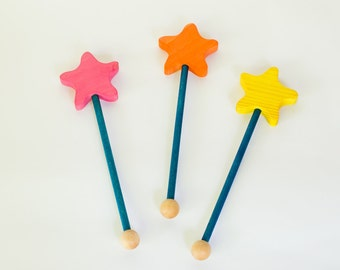 Wooden magic wand, star wand by l'Atelier Cheval de bois