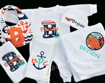 Personalized Nautical Baby Gift Set / Sleeper, Blanket, 2 Burpcloths and Bib