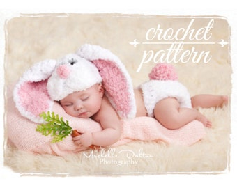 PDF crochet pattern EASTER Bunny newborn hat with floppy ears  and diaper cover set,easter bunny, spring photo prop,newborn photograpy