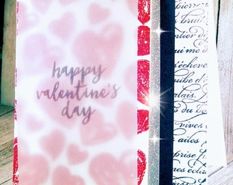 Red, black and White....a little silver Valentine card
