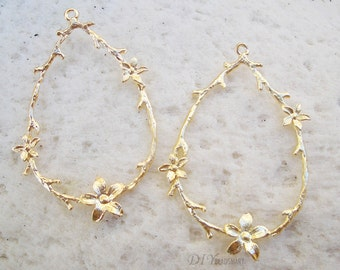 4pcs of gold tone earring chandelier 23x39mm