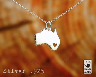 AUSTRALIA Map Handmade Personalized Sterling Silver .925 Necklace in a gift box