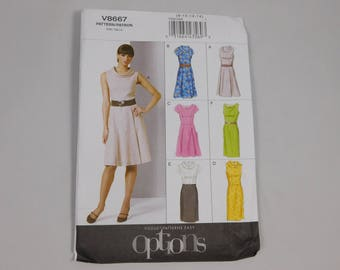 Misses and Misses Petite Dress Sewing Pattern, Vogue Options V8667, Women pattern, Size 8 10 12 14