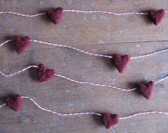 Wool heart garland, Garnet Red, on red striped baker's twine, 6ft, dark red felt heart garland, heart theme Valentine's Day party decor
