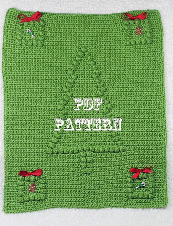 Crochet Pattern Christmas Tree - Crochet Baby Security Blanket Pattern - Car Seat or Stroller Blanket - Wall Hanging - Home Decoration