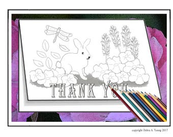 2 Coloring Pages in Notecard Format. Thank You & Blank Cards with Rabbit in Garden for You to Color or Gift to Person Who Colors. Printable