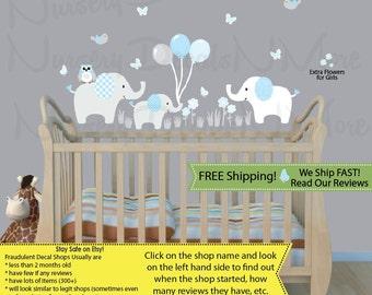 Elephant Wall Decal Holding Balloons, Elephant Stickers, Elephant Nursery Art (Elephants & Balloons Baby Blue) 3EB
