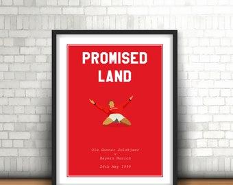 Ole Gunnar Solskjaer Minimalist Manchester United Art Print 'Promised Land'