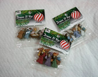 Nativity Buttons, Choice of Three Sets, Plastic with Shank, Dress It Up by Jesse James, Celebration of Jesus Birth, DIY Christmas Project