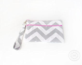 Chevron Wristlet with name or initials - Double Zip Monogrammed Makeup bag - Personalized Bridesmaid bags - medium