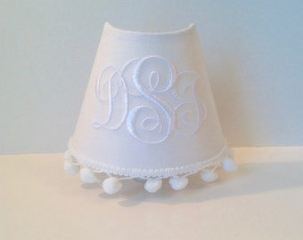Sarah Monogrammed Night Light (other colors available for pom poms and monogram)