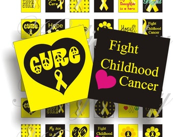 Childhood Cancer Awareness 1x1 inch for pendant, scrapbook and more collage sheet No.1192