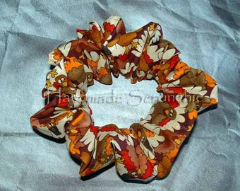 Thanksgiving Hair Scrunchie, Seasonal Hair Tie, Fall/Autumn Holiday Ponytail Holder, Packed Turkey's