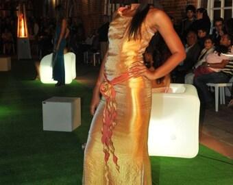 Long party dress, golden dress, long dress, bodycon party dress, bridesmaid dress