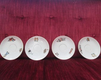 Early 20th Century German Child's Tea Set Saucer/Circa 1920's to 1930's  #18028- 18031