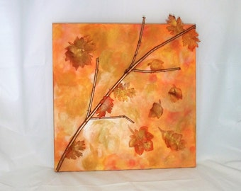 Mixed Media Fall Leaves 20 x 20 Canvas Autumn gold orange copper yellow nature leaf foliage harvest decor wall hanging office waiting