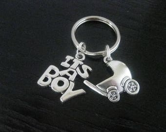 It's a BOY & Baby Buggy Key Ring