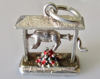 Silver Rotisserie With Chicken Mechanical Enamel Charm