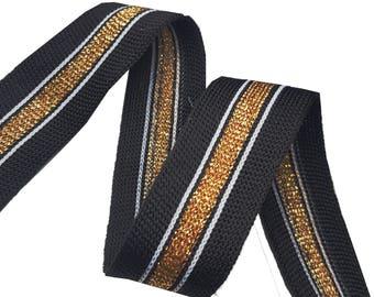 Knitted Black and Gold Striped Ribbon Trim, Fashion Decorative Stretch Ribbon Trim, Gold Lurex Decor ribbon trim