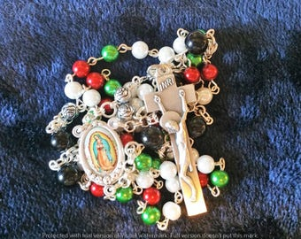 Our Lady of Guadalupe Rosary - Rosaries - Glass Pearl Beads - INRI Crucifix - Rosary - Holy Rosary - Rosary Necklace