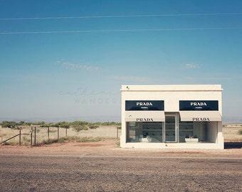 Prada Marfa Photography, Marfa Photograph,  Texas Print, Bohemian Home Decor, Fashion Art, Pastel wall hanging, large poster size, Boho